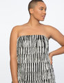 Fringe Strapless Dress  Black and White