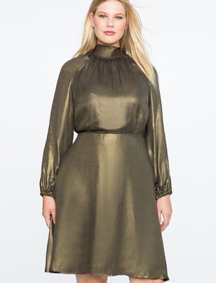 Fit and Flare Foil Shine Dress