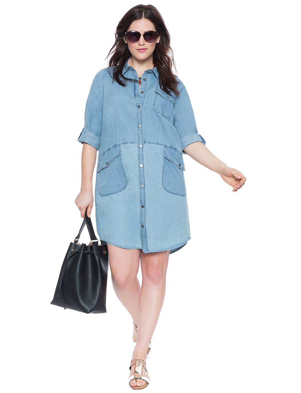 Chambray Shirt Dress | Women\'s Plus Size Dresses | ELOQUII