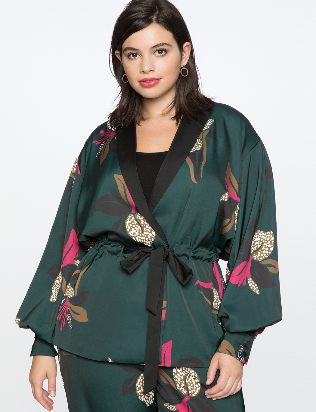 Puff Sleeve Jacket With Tie Women S Plus Size Coats