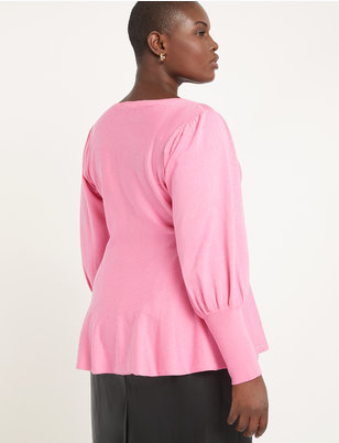 Puff Sleeve Peplum Sweater