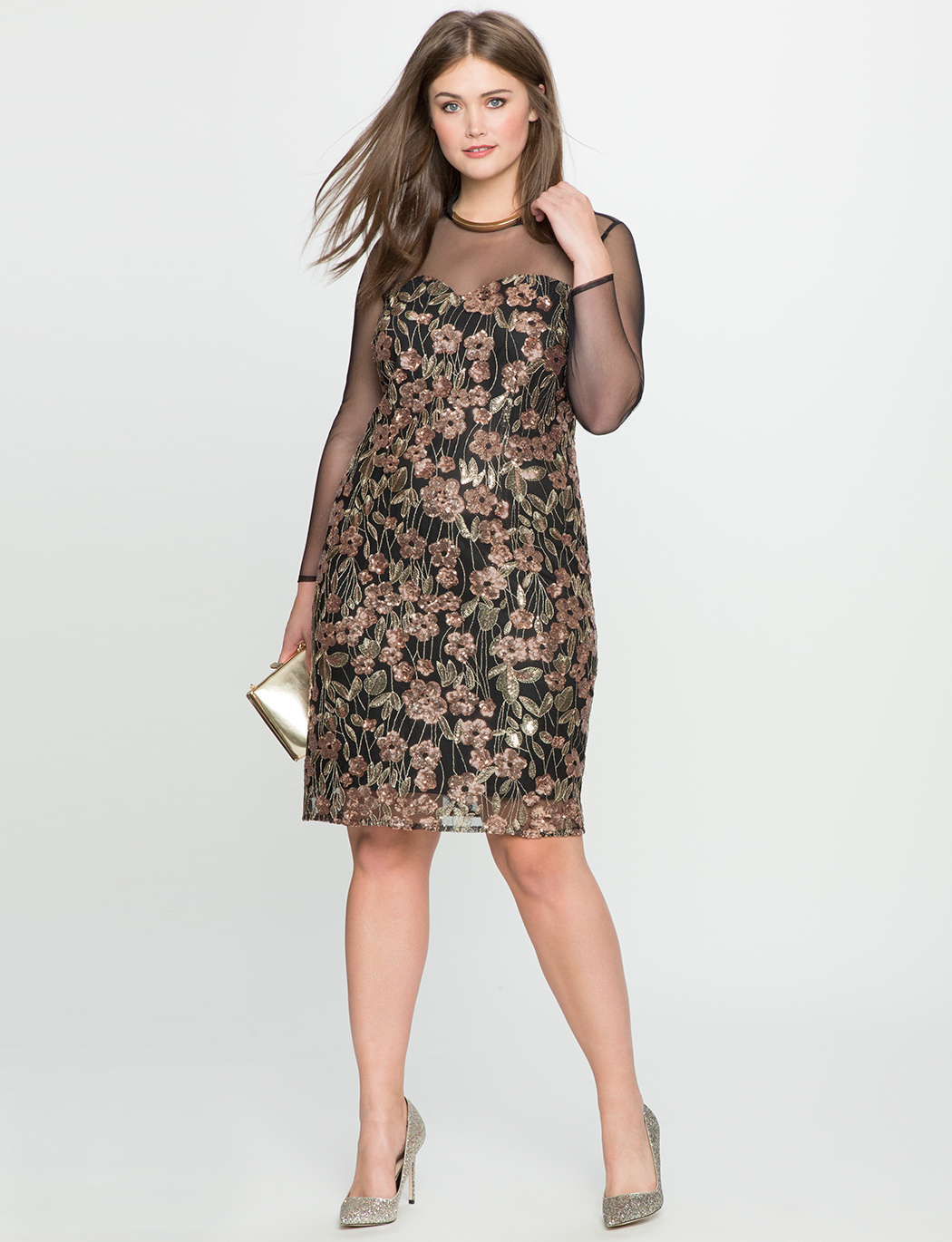 70629f56e97 Floral Sequin Dress with Mesh Detail