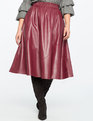 Studio Ruffle Waist Faux Leather Skirt Cordovan