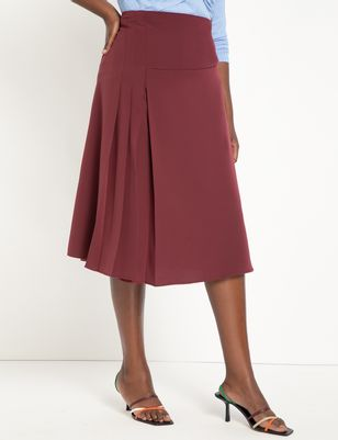 Midi Skirt with Pleat Slit Detail