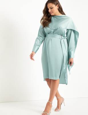 Scarf Neck Dress With Long Sleeves