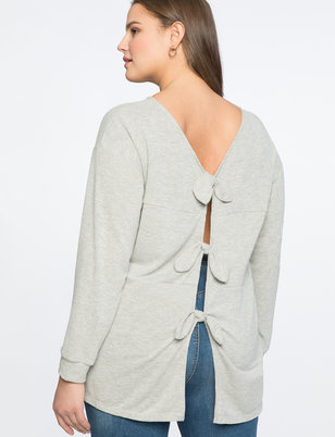 Open Back Bow Detail Sweatshirt