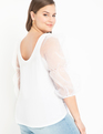 Organza Puff Sleeve Top True White