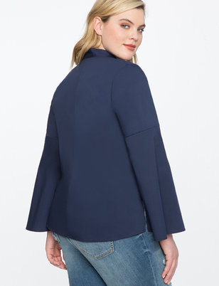 Bib Front Flare Sleeve Top