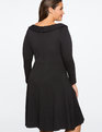 Button Detail Fit And Flare Dress BLACK