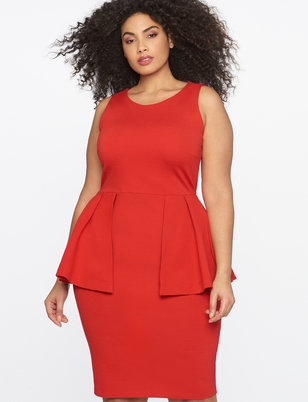 Sleeveless Peplum Sheath Dress
