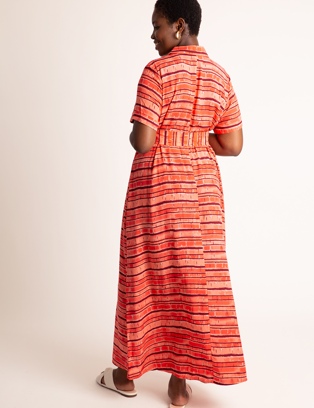 Button Front Cuff Maxi Dress