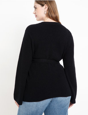 Ribbed Wrap Sweater