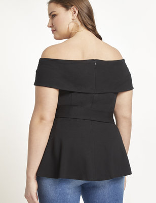 Off-the-Shoulder Tie Waist Peplum Top