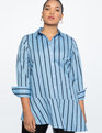 Asymmetrical Hem Shirt Light Blue and Navy Stripes