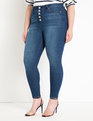 Peach Lift Button Fly Jean Dark Wash