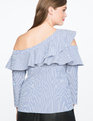 Ruffle Asymmetic One Shoulder Top Blue/White Stripe