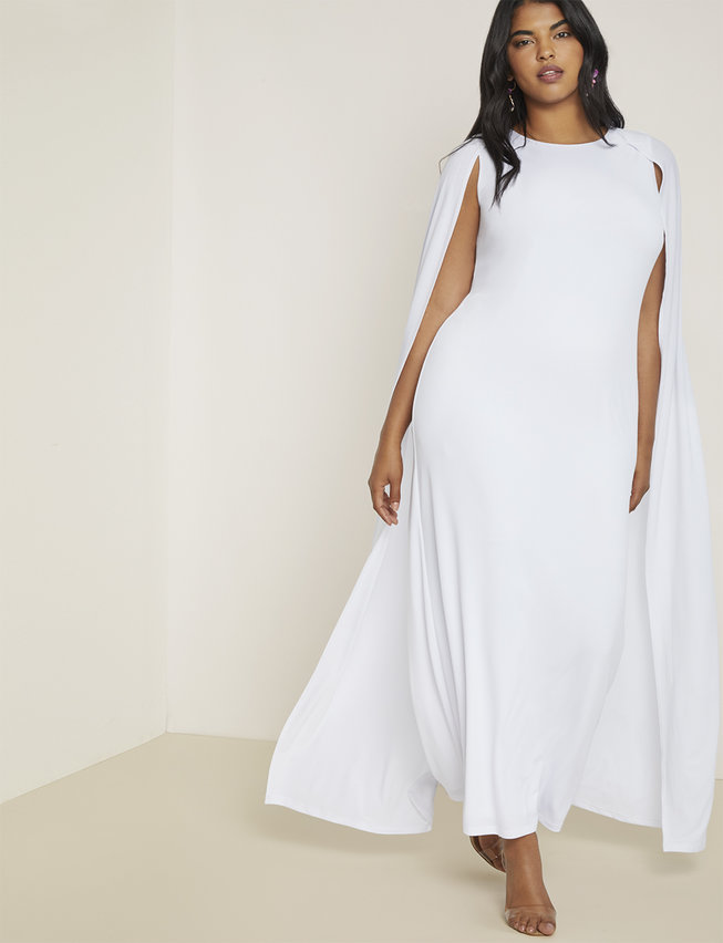 Studio Jersey Capelet Gown White