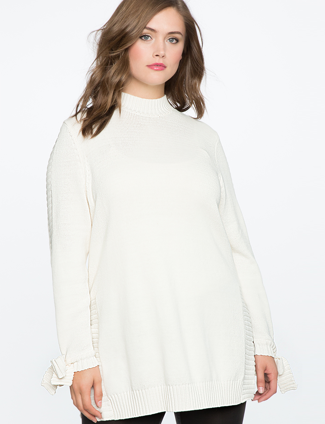 ed2e591b84c Tie Sleeve Tunic Sweater with Slits | Women's Plus Size Tops | ELOQUII