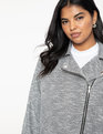 Soft Knit Moto Jacket Grey