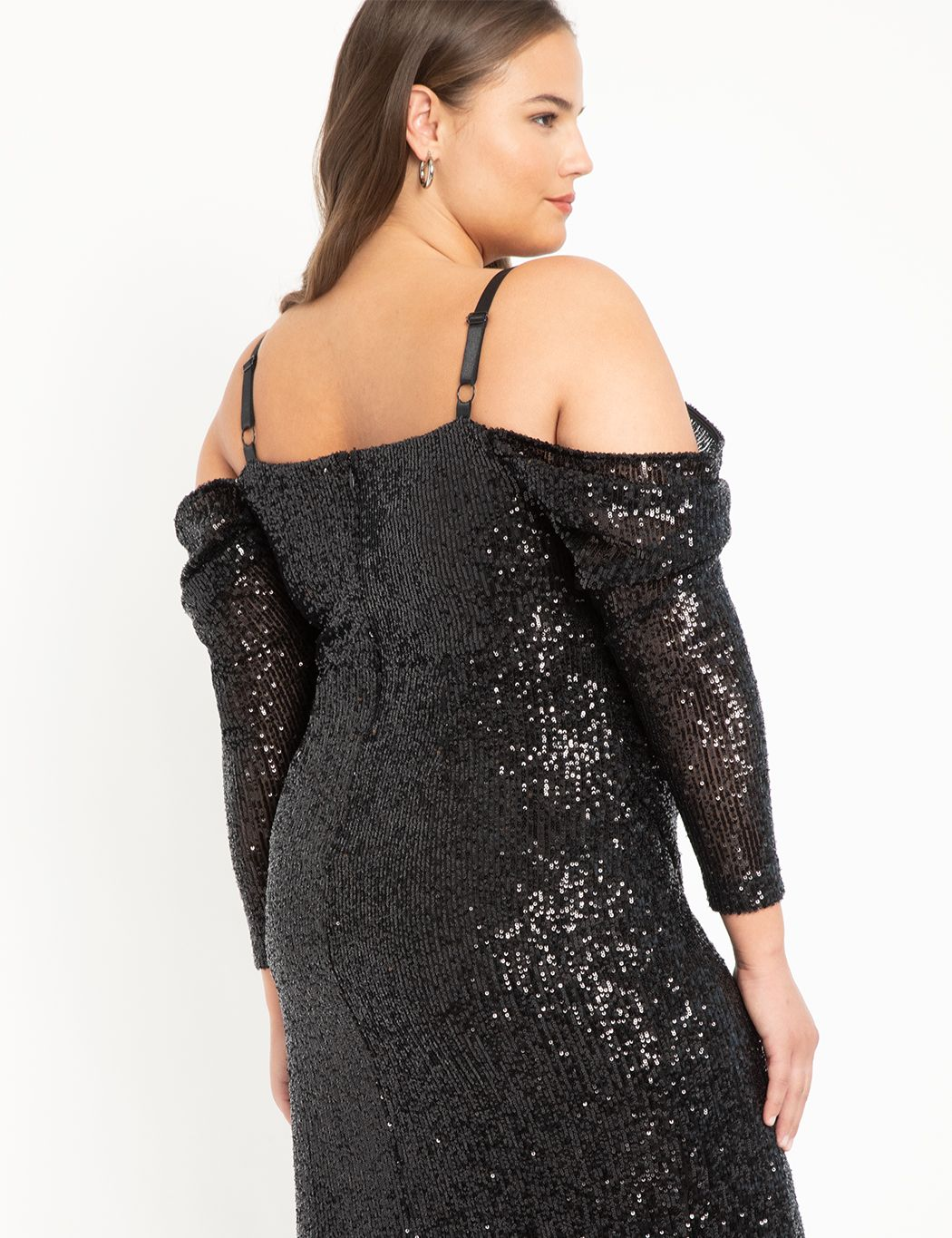 Off The Shoulder Sequin Midi Dress