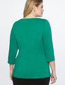 Asymmetrical Pleated 3/4 Sleeve Top Bright Emerald