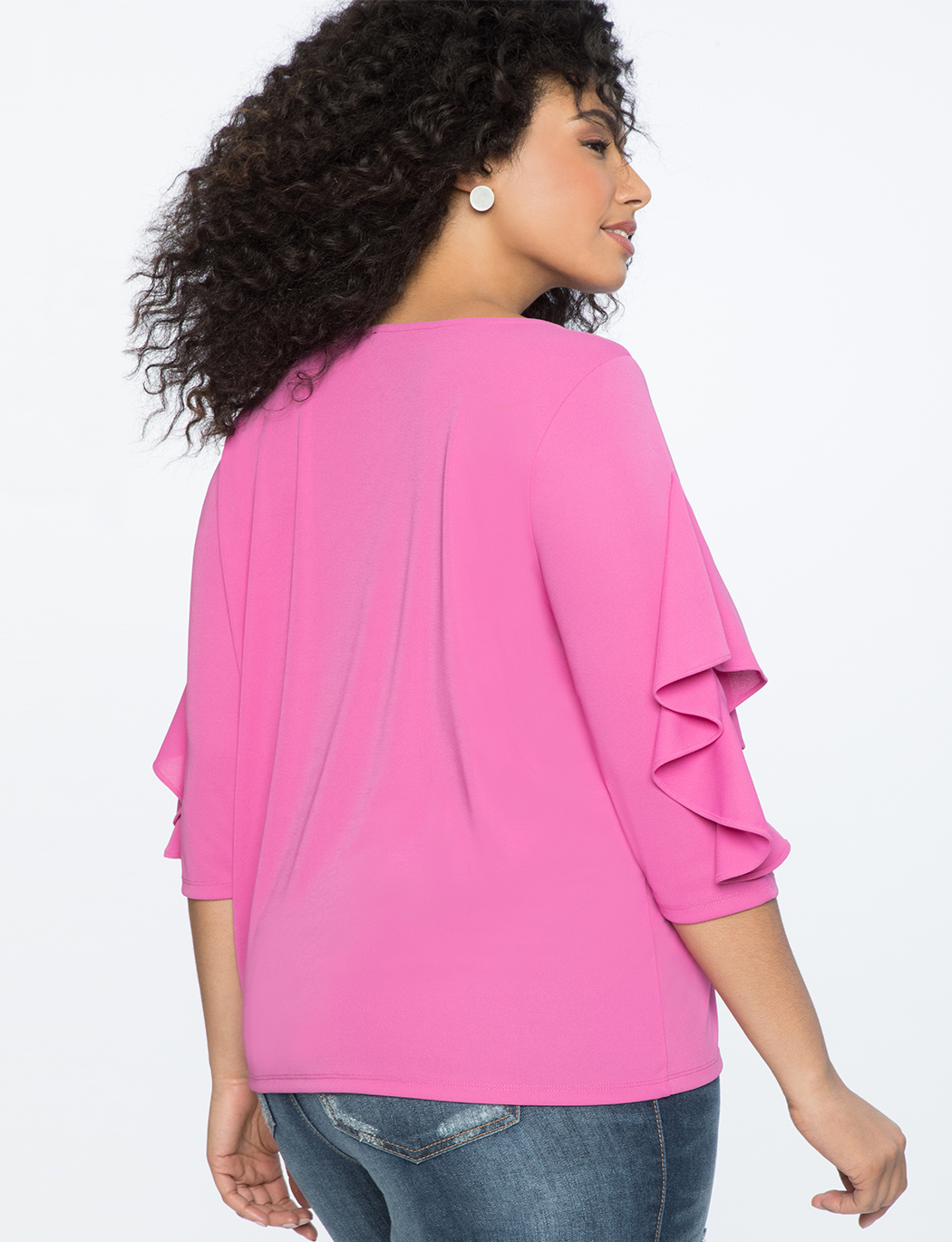 Ruffle 3/4 Sleeve Top