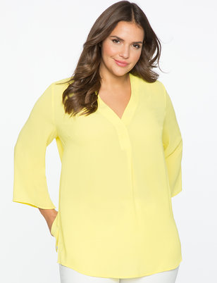 V-Neck Pleat Front Tunic