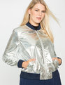 Sporty Metallic Bomber Jacket Silver