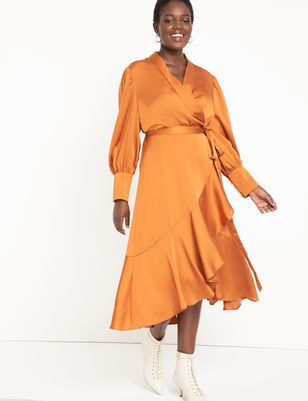 Bishop Sleeve Wrap Dress