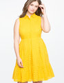 Collared Eyelet Fit and Flare Dress SUNBURST