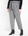 Herringbone Paperbag Pant Black + White Herringbone