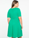 Elbow Sleeve Fit and Flare Dress EMERALD
