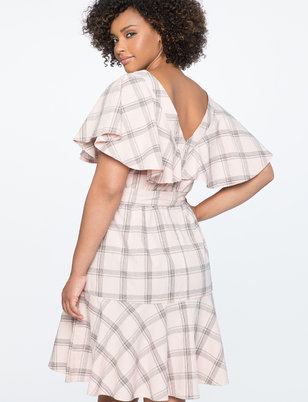 Plaid Dress with Flare Sleeve