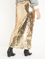 Sequin Maxi Skirt with Side Slit Gold