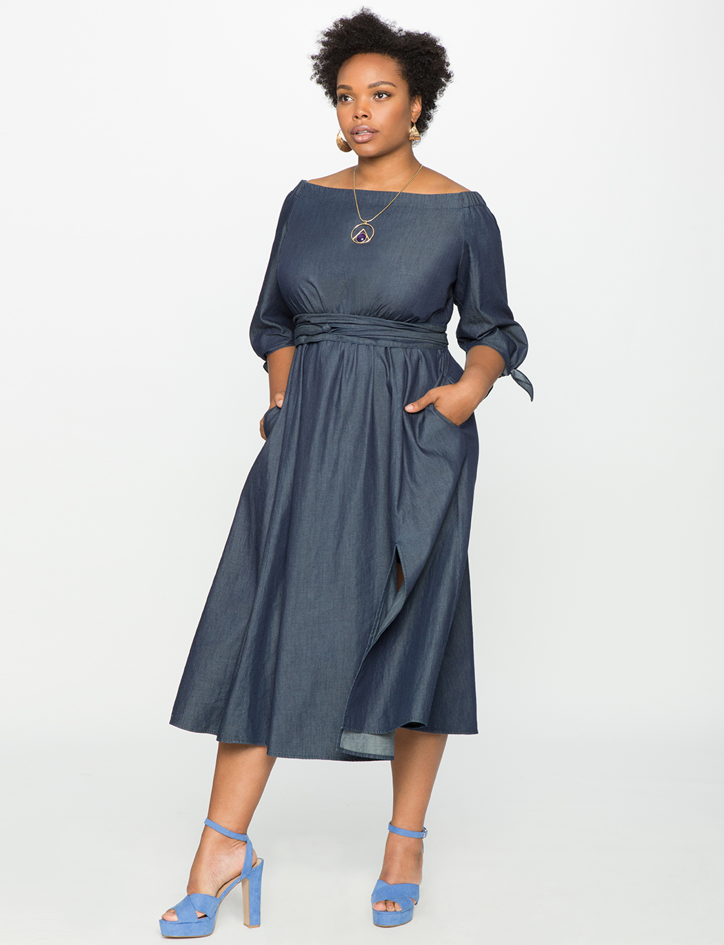 0db7f3ace40 Studio Off the Shoulder Chambray Dress