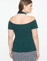 Wrap Neck Cold Shoulder Peplum Top Dark Emerald
