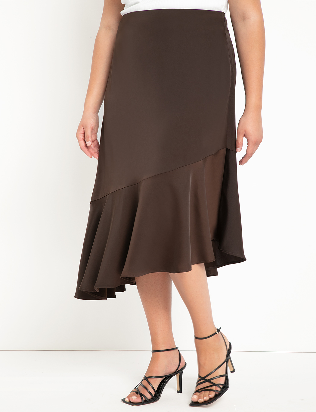 Satin Skirt with Flounce