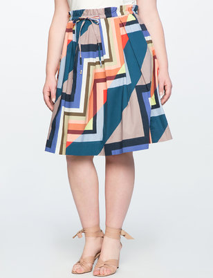 Printed Midi Skirt with Tie Waist