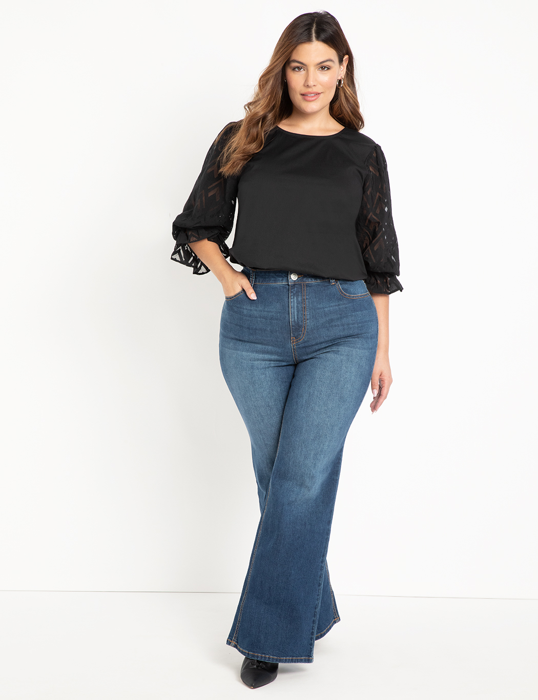 ELOQUII Elements Flare Leg Denim