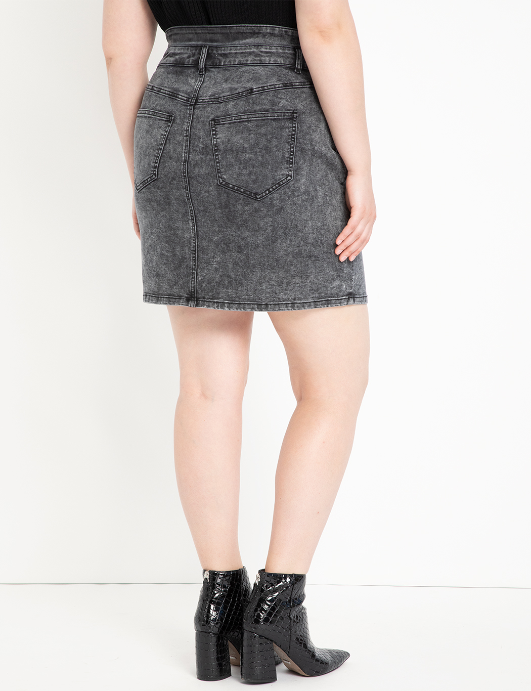 High Waisted Denim Mini Skirt