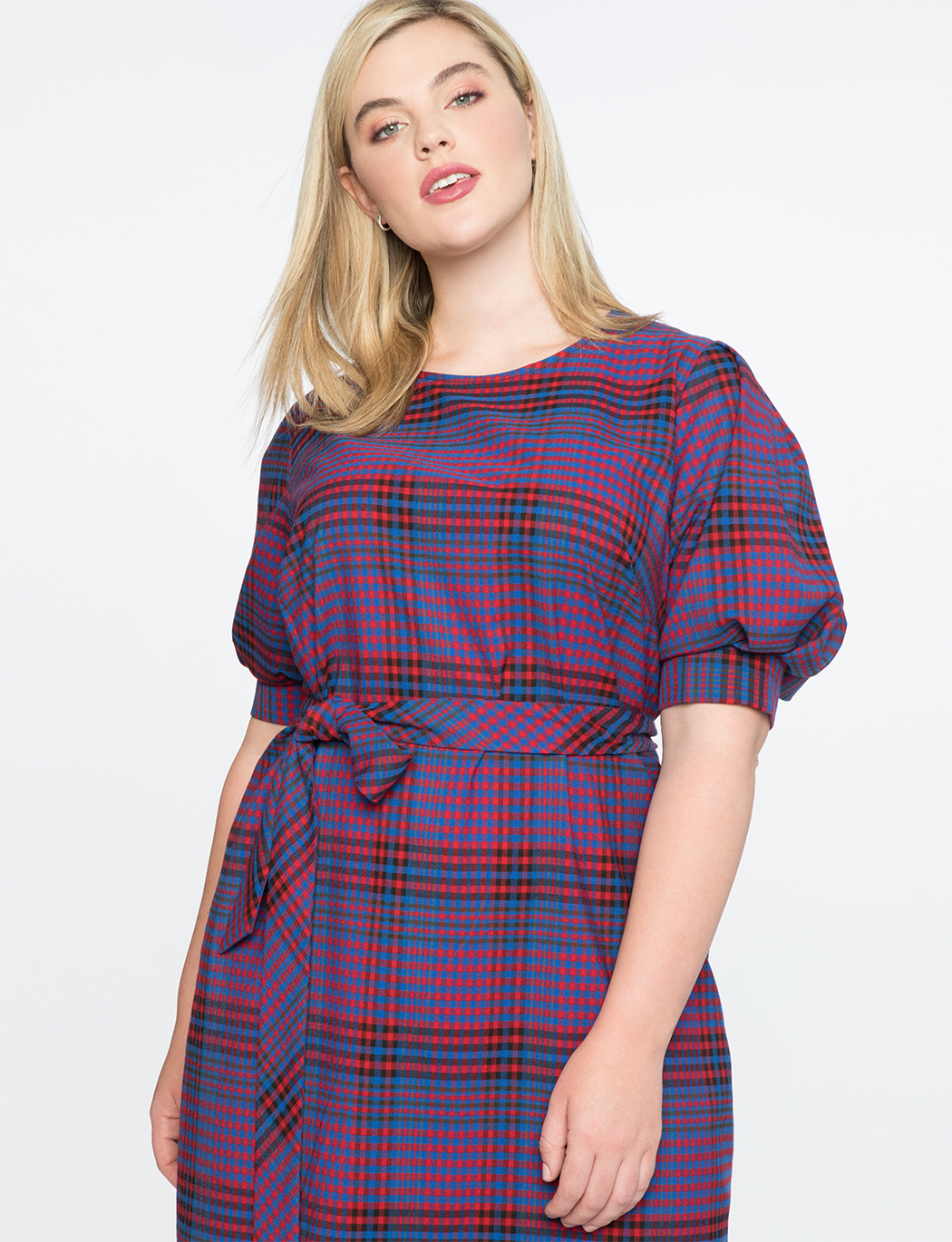 Plaid Puff Sleeve Dress | Women\'s Plus Size Dresses | ELOQUII