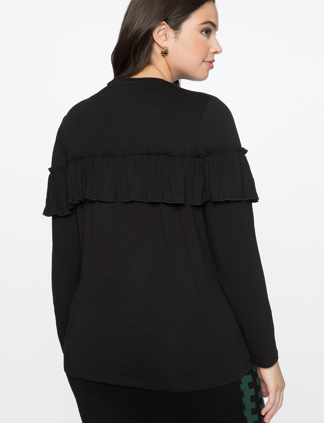 Ruffled Yoke Long Sleeve Tee