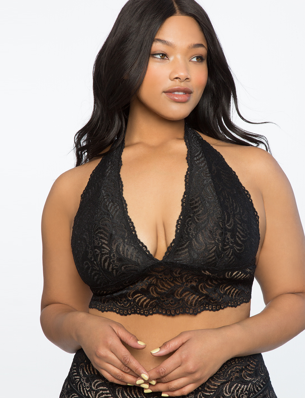 2aa8a846048 Lace Bralette with Removable Halter | Women's Plus Size Shapewear ...