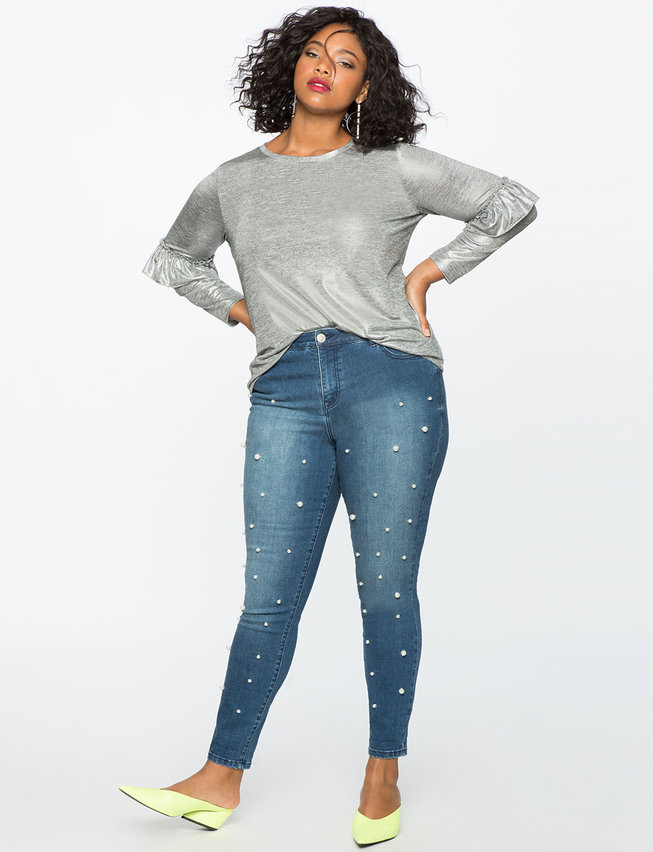 Skinny Jean with Embellished Pearls | ELOQUII