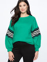 Dramatic Puff Sleeve Sweatshirt with Stripe Detail Parakeet Green