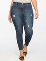 Classic Fit Peach Lift Distressed Skinny Jean Dark Wash