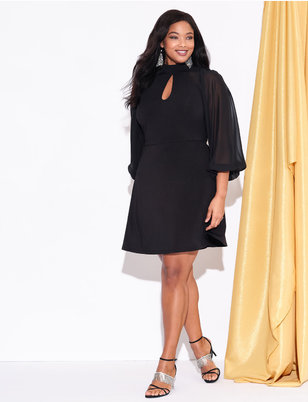 Slit Front Dress with Sheer Sleeves