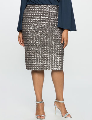 Checkered Sequin Pencil Skirt