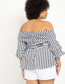 Striped Wrap Peplum Top Black and White Stripe