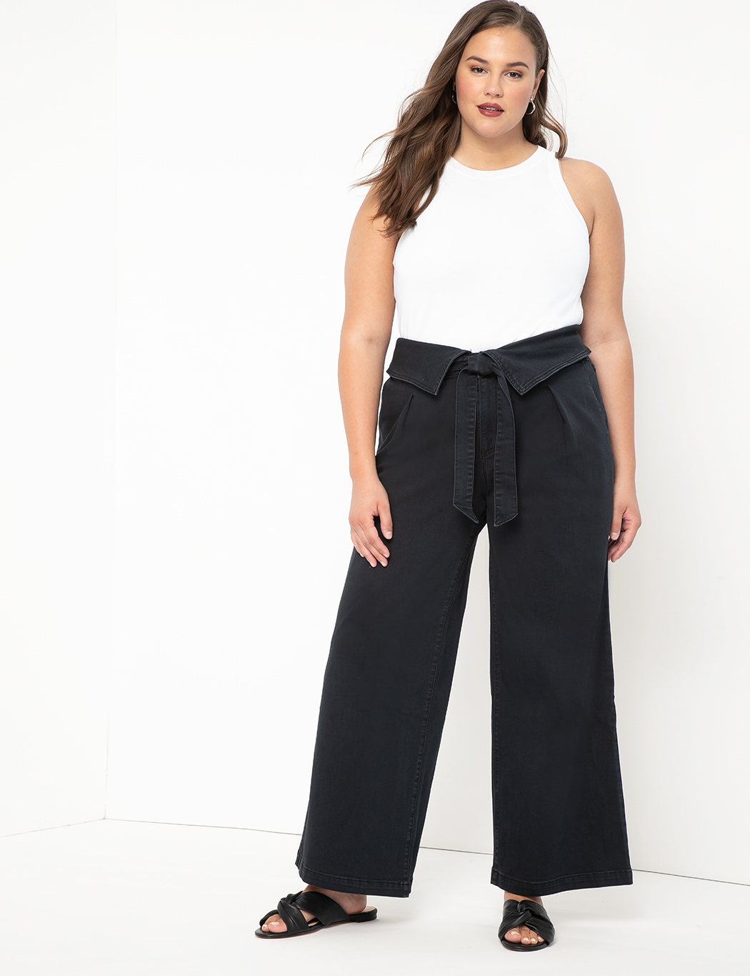 Wide Leg Jean with Foldover Waist